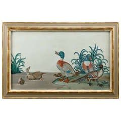 Duck Painting in gouache from the Georgian period.