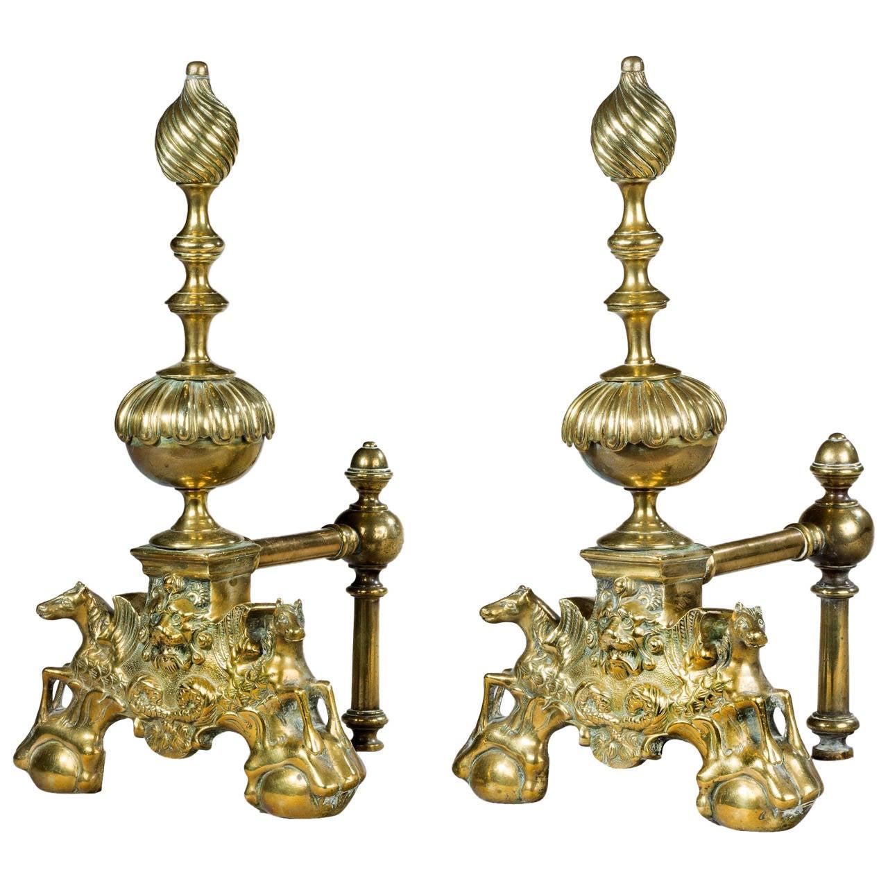 Pair of 19th Century Brass Andirons