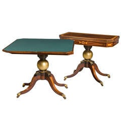 Pair of Antique Regency Period Rosewood Card Tables
