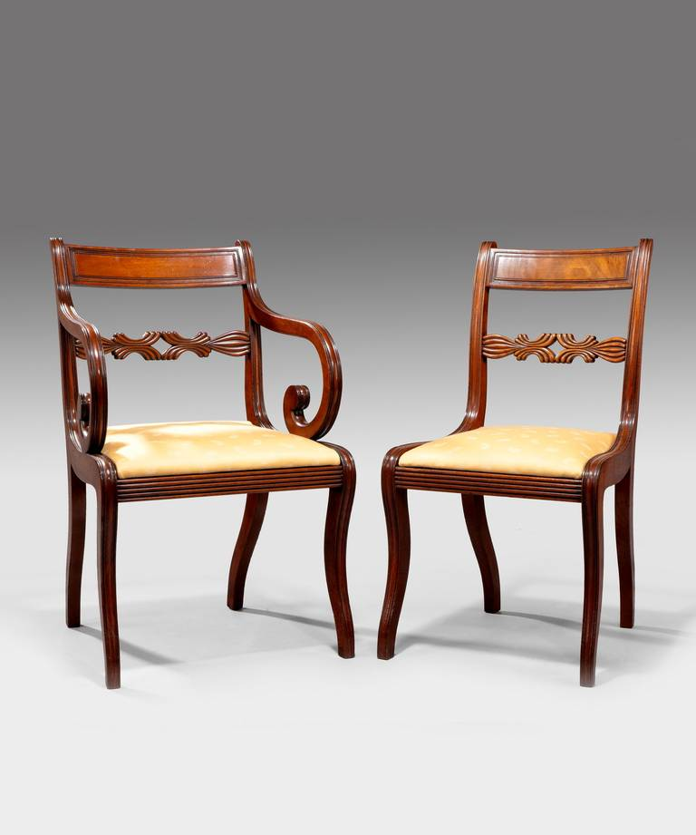 Set of 12 regency dining chairs at 1stdibs for Regency furniture living room sets