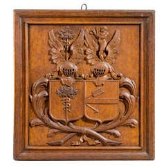 19th Century Coat of Arms Carved in Oak