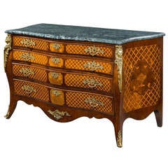 Georgian marquetry commode chest of drawers.