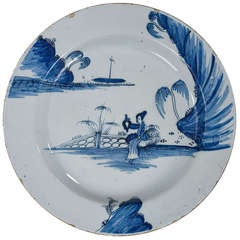 Georgian Delft Blue and White Plate