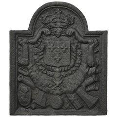 Antique 18th Century Cast Iron French Fireback