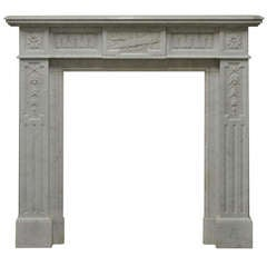 19th Century Lovely Decorated White Marble Louis XVI Mantelpiece