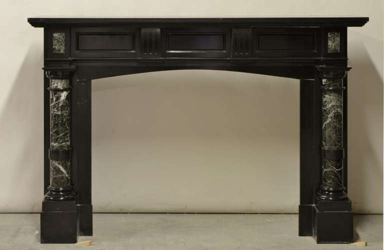 Late 19th Century Dutch Black Marble Fireplace With Green Marble Pillars For Sale At 1stdibs