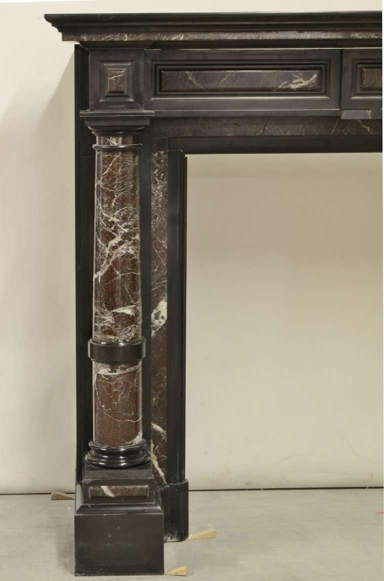 Dutch Black Marble Fireplace with Marble Pillars End of