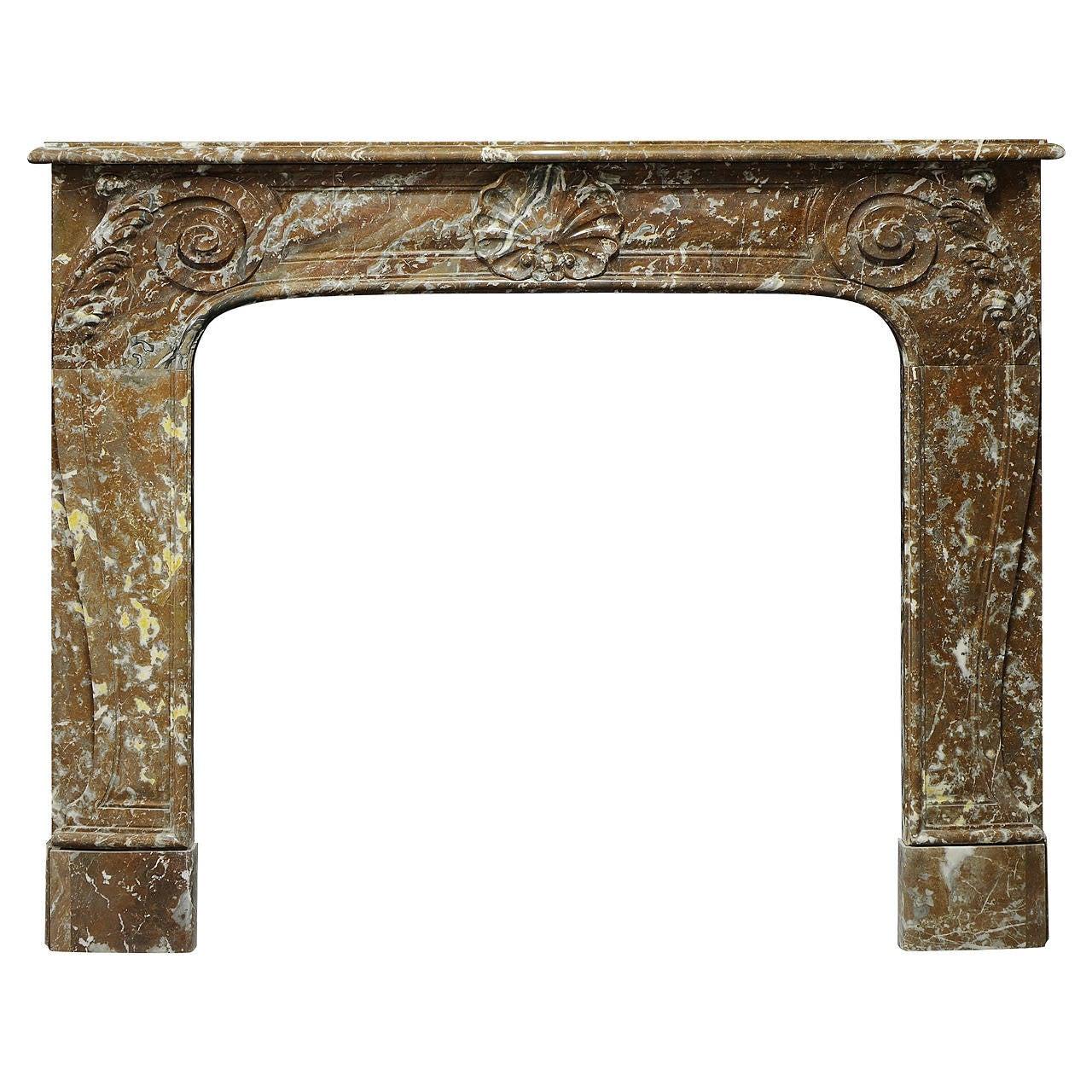 19th Century Rouge de Mazy Marble Louis XV Fireplace Mantel