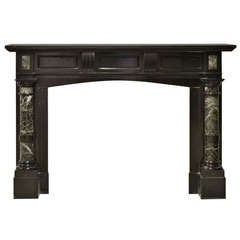 Late 19th Century, Dutch Black Marble Fireplace with Green Marble Pillars