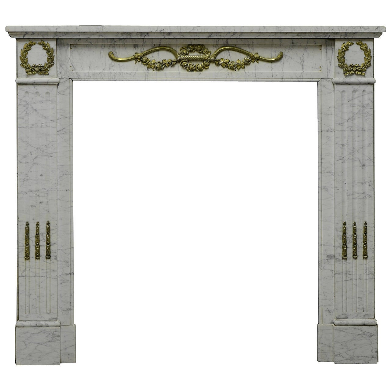 19th Century White Marble and Brass Louis XVI Fireplace Mantel