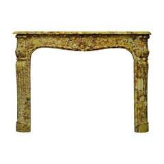 18th Century Louis XV-XVI Breche D' Allepe Fireplace Mantel