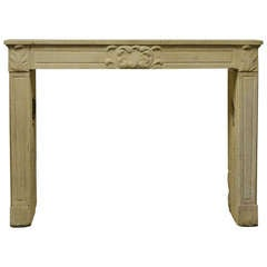 19th Century Louis XVI Limestone Fireplace