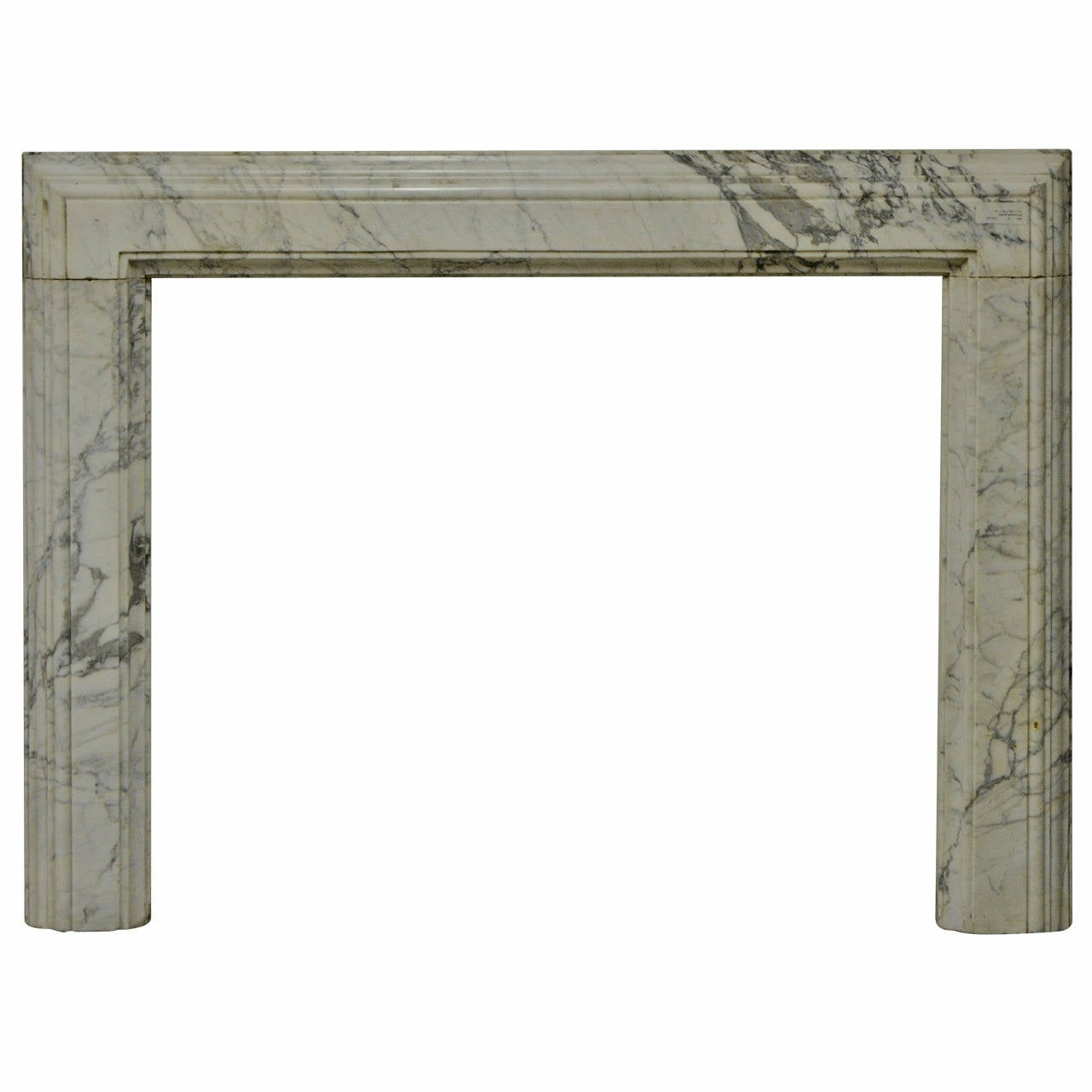 19th Century White Marble Bolection Fireplace Mantel For