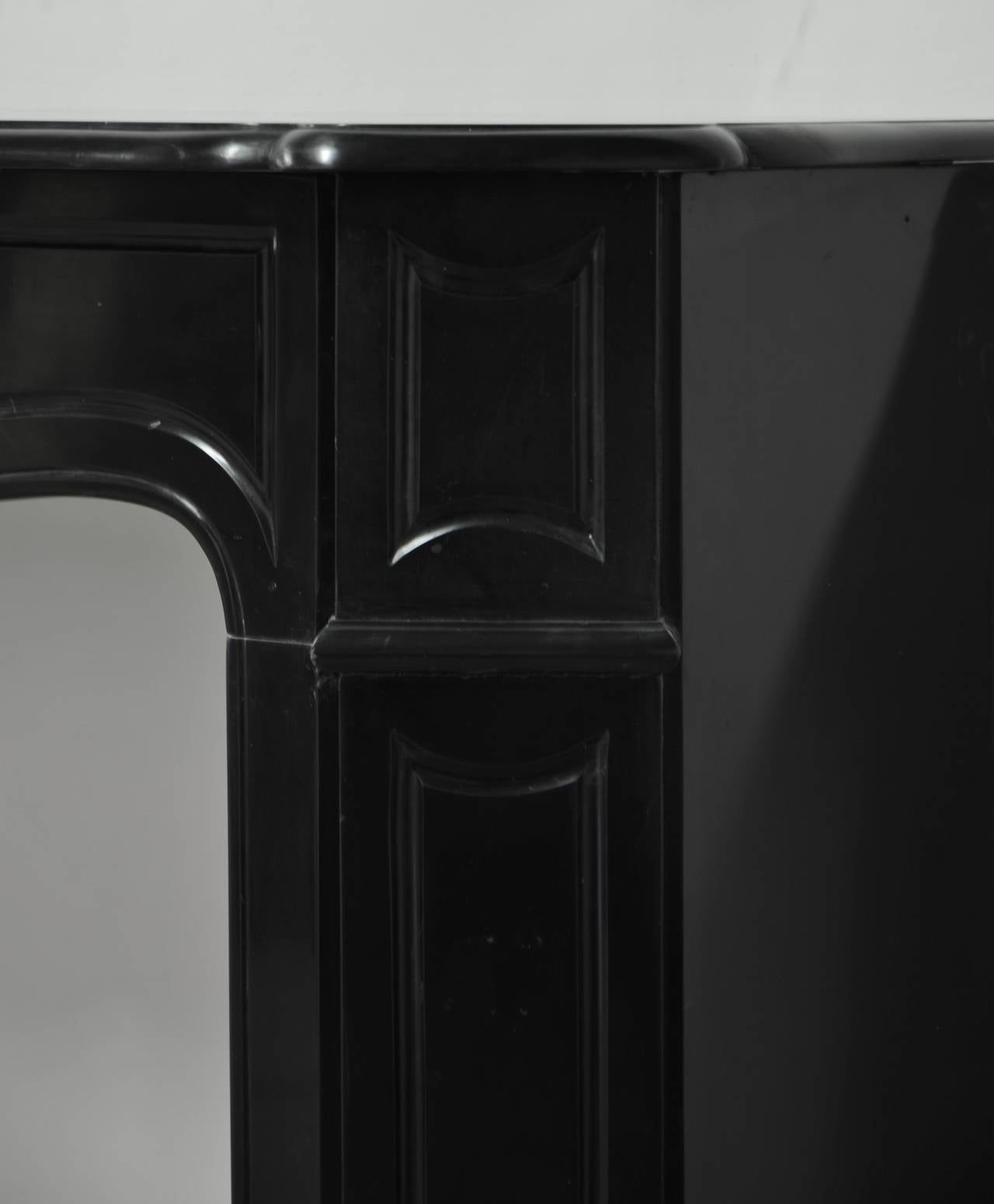 Antique Black Marble Pompadour Style Fireplace Mantel 19th Century At 1stdibs