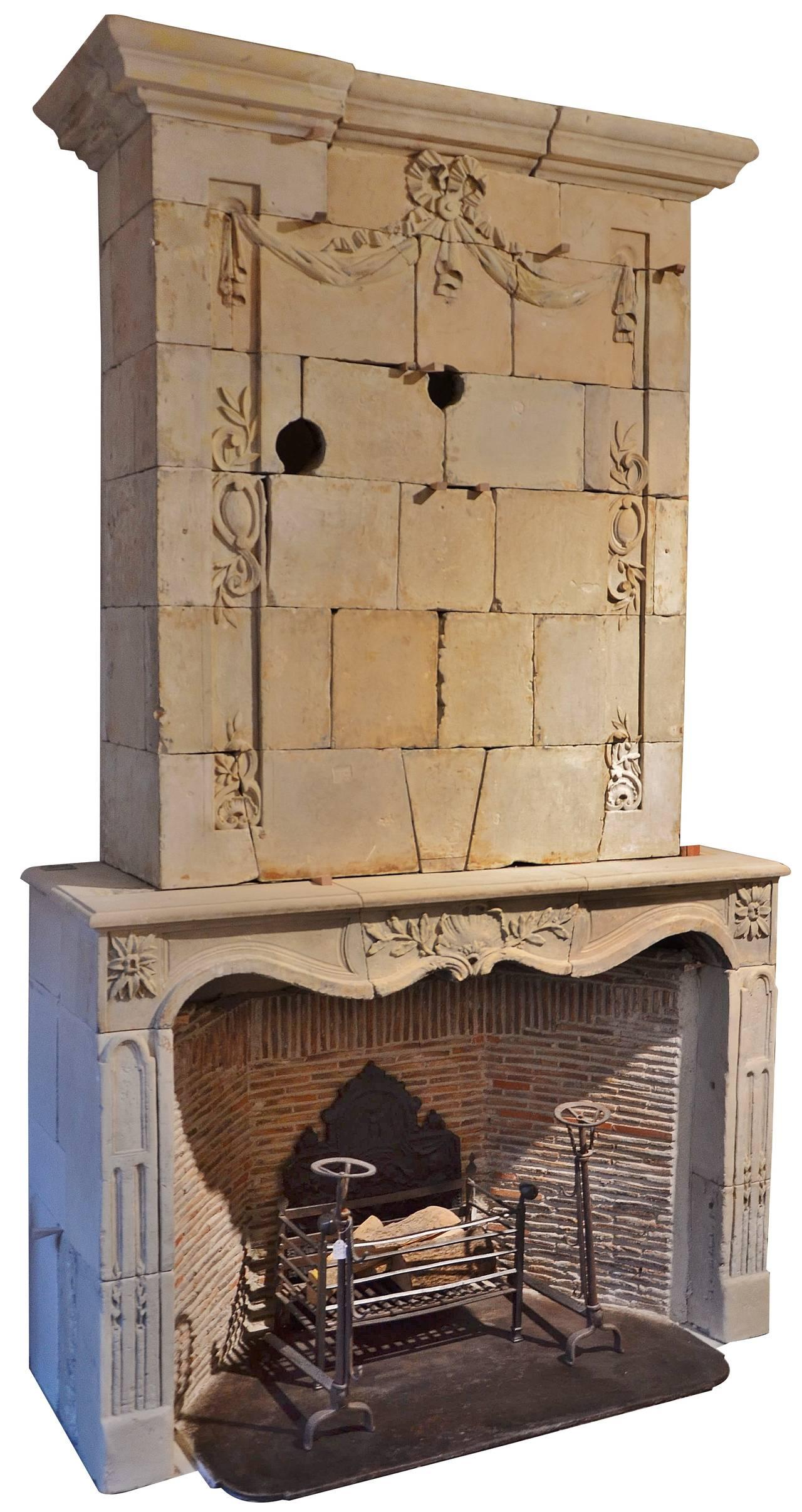Very Impressive French Limestone Trumeau Fireplace At 1stdibs