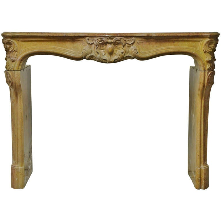 French Limestone Louis XV Fireplace For Sale