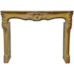 French Limestone Louis XV Fireplace