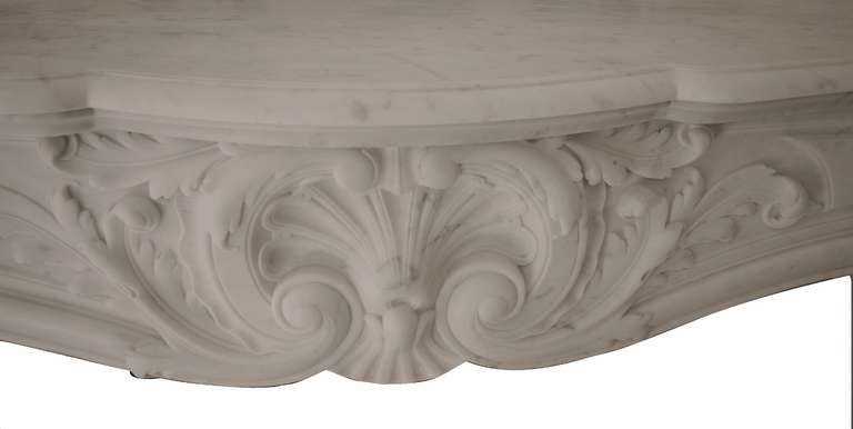 19th Century Louis XV French White Marble Antique Fireplace Mantel 6