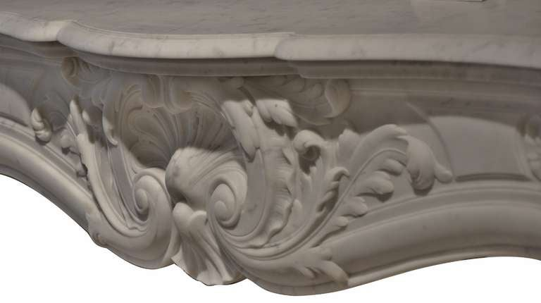 19th Century Louis XV French White Marble Antique Fireplace Mantel 3