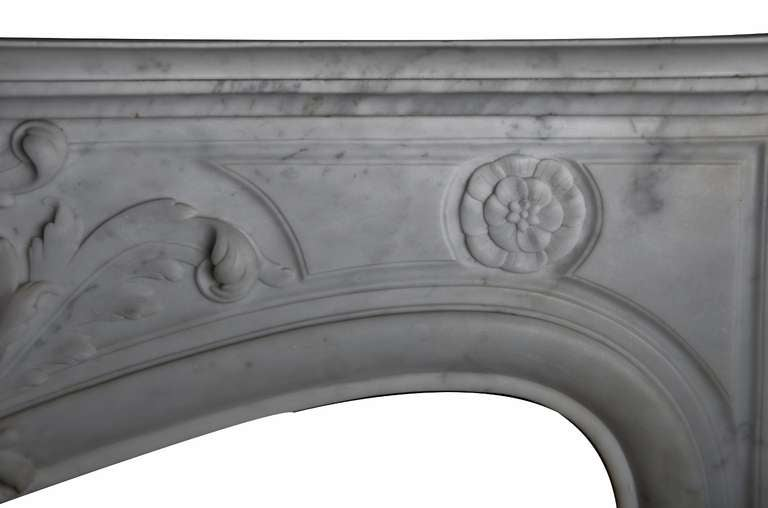 19th Century Louis XV French White Marble Antique Fireplace Mantel 5
