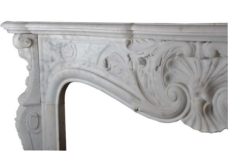 19th Century Louis XV French White Marble Antique Fireplace Mantel 7