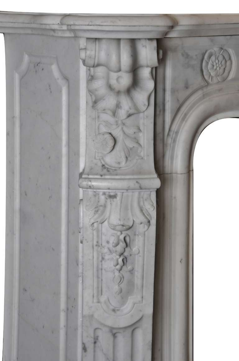 19th Century Louis XV French White Marble Antique Fireplace Mantel 8