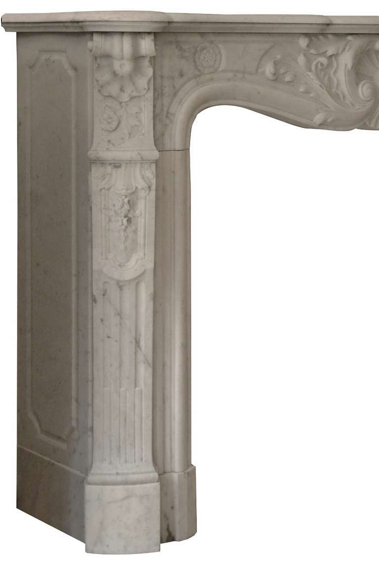 19th Century Louis XV French White Marble Antique Fireplace Mantel 10