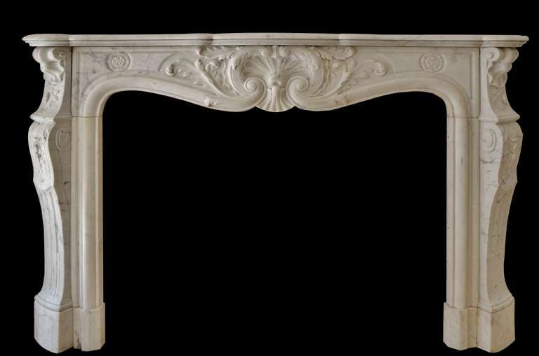century louis xv french white marble antique fireplace mantel image 2