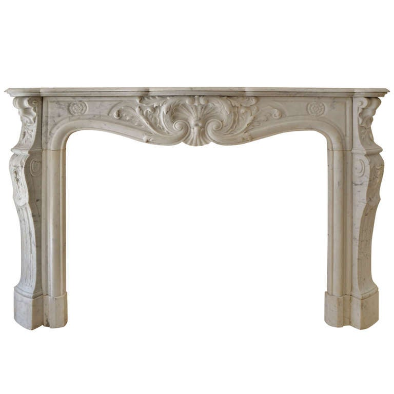 19th Century Louis XV French White Marble Antique Fireplace Mantel 1