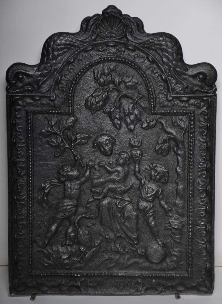 17th C Rare Antique Fireback Displaying Quot Caritas Quot For