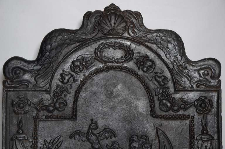 18th Century and Earlier 17th c. Antique Cast Iron Fireback Displaying