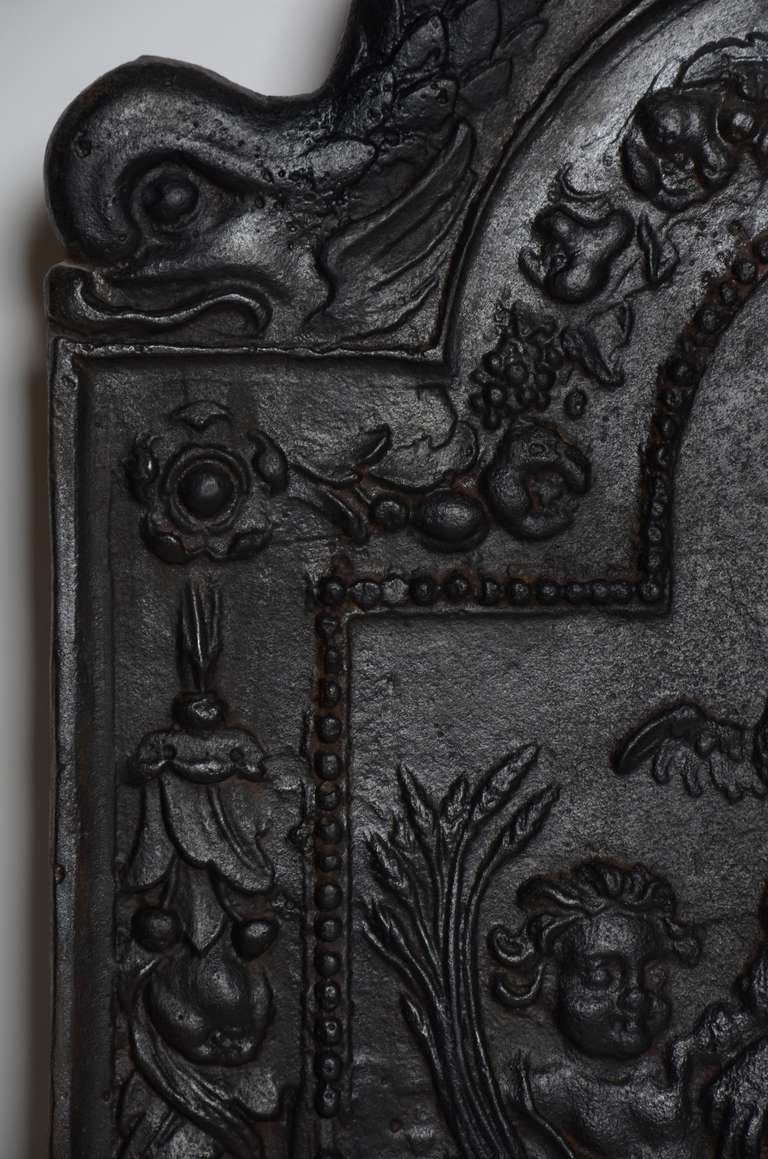 Dutch 17th c. Antique Cast Iron Fireback Displaying