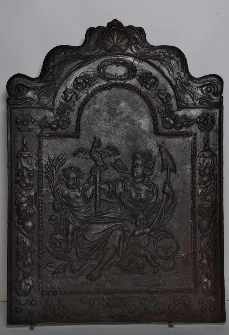 17th c. Antique Cast Iron Fireback Displaying