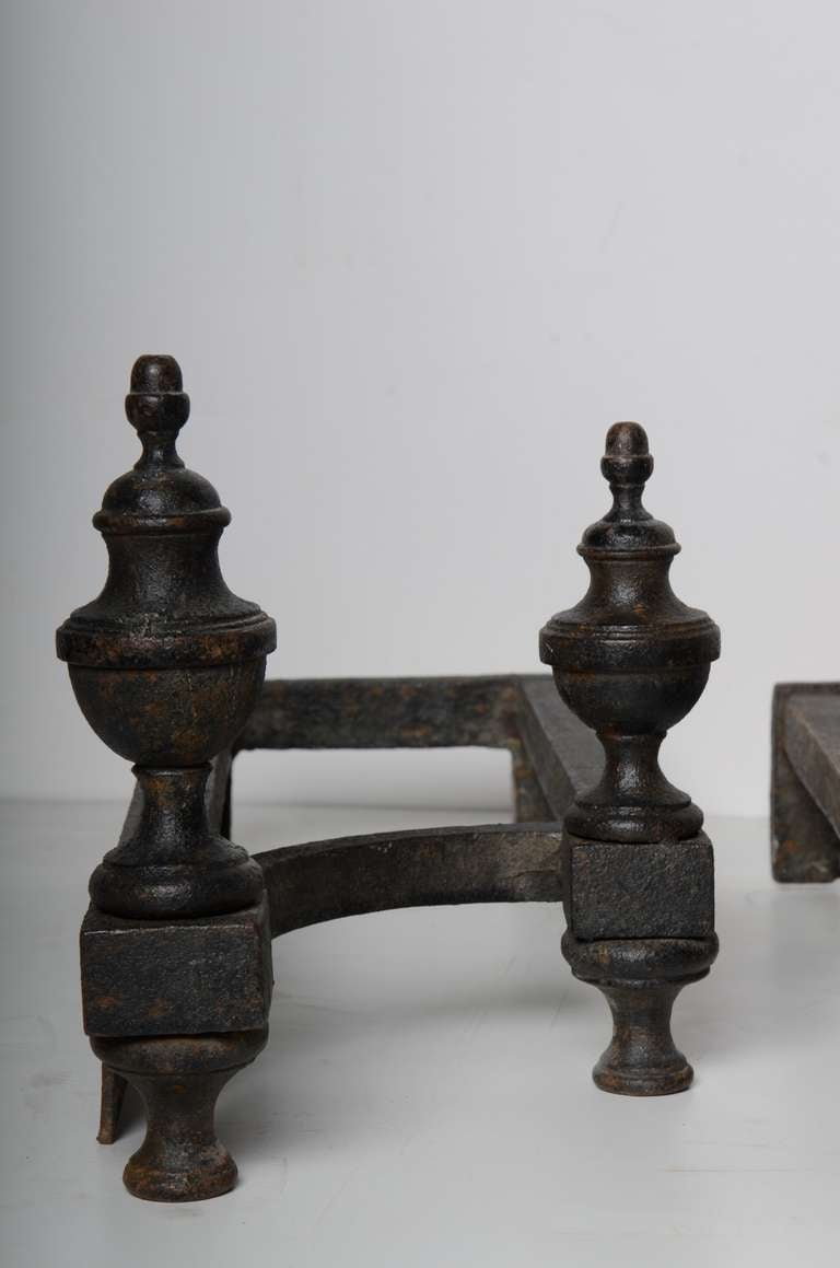 18th C Louis Xiv Antique Andirons French Cast Iron At 1stdibs