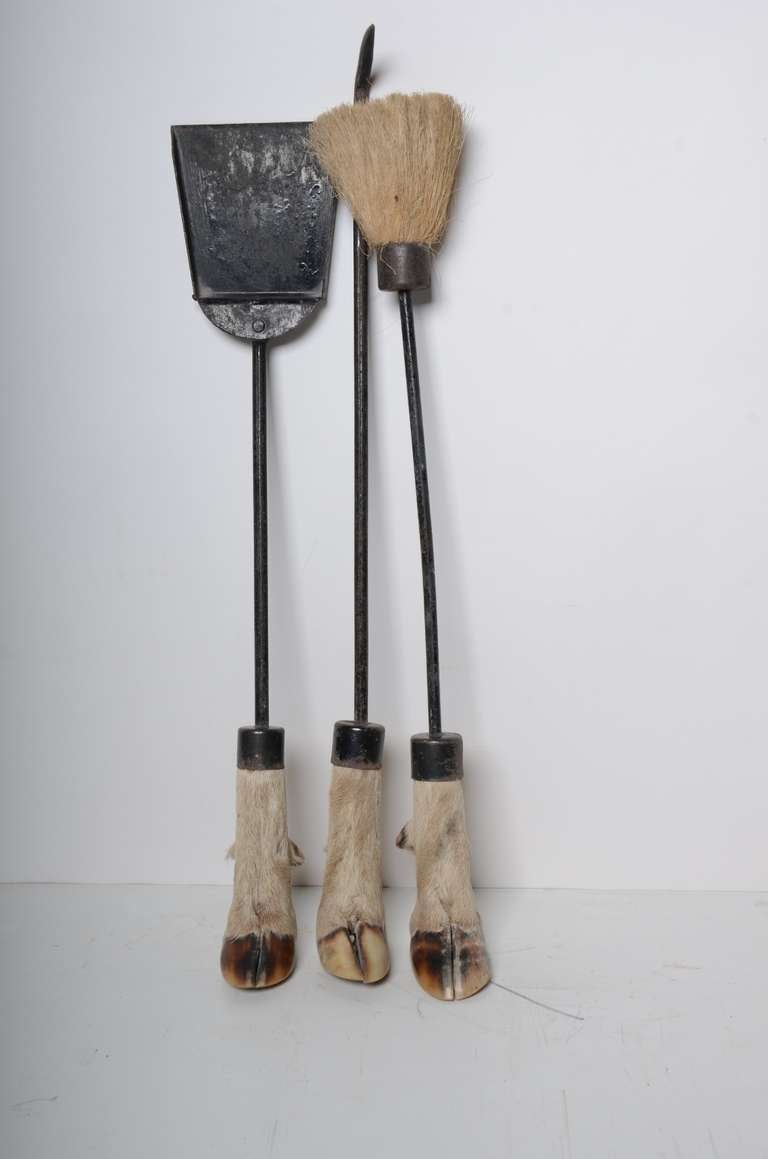 19th C Antique Fire Tool Set With Deer Hooves For Sale At