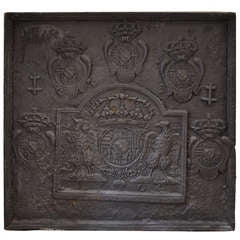 18th Century Large Fireback - Coat of Arms Lorraine from 1704