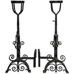 19th Century Large Dutch Arts & Craft Andirons