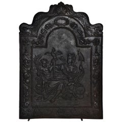 """17th c. Antique Cast Iron Fireback Displaying """"Spes"""" The Goddess Hope"""