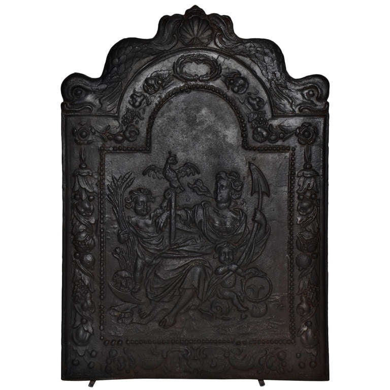 "17th c. Antique Cast Iron Fireback Displaying ""Spes"" The Goddess Hope For Sale"