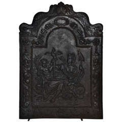 "17th c. Antique Cast Iron Fireback Displaying ""Spes"" The Goddess Hope"