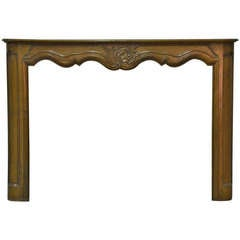 18th c. French Cherry-Wood Louis XV Antique Fireplace