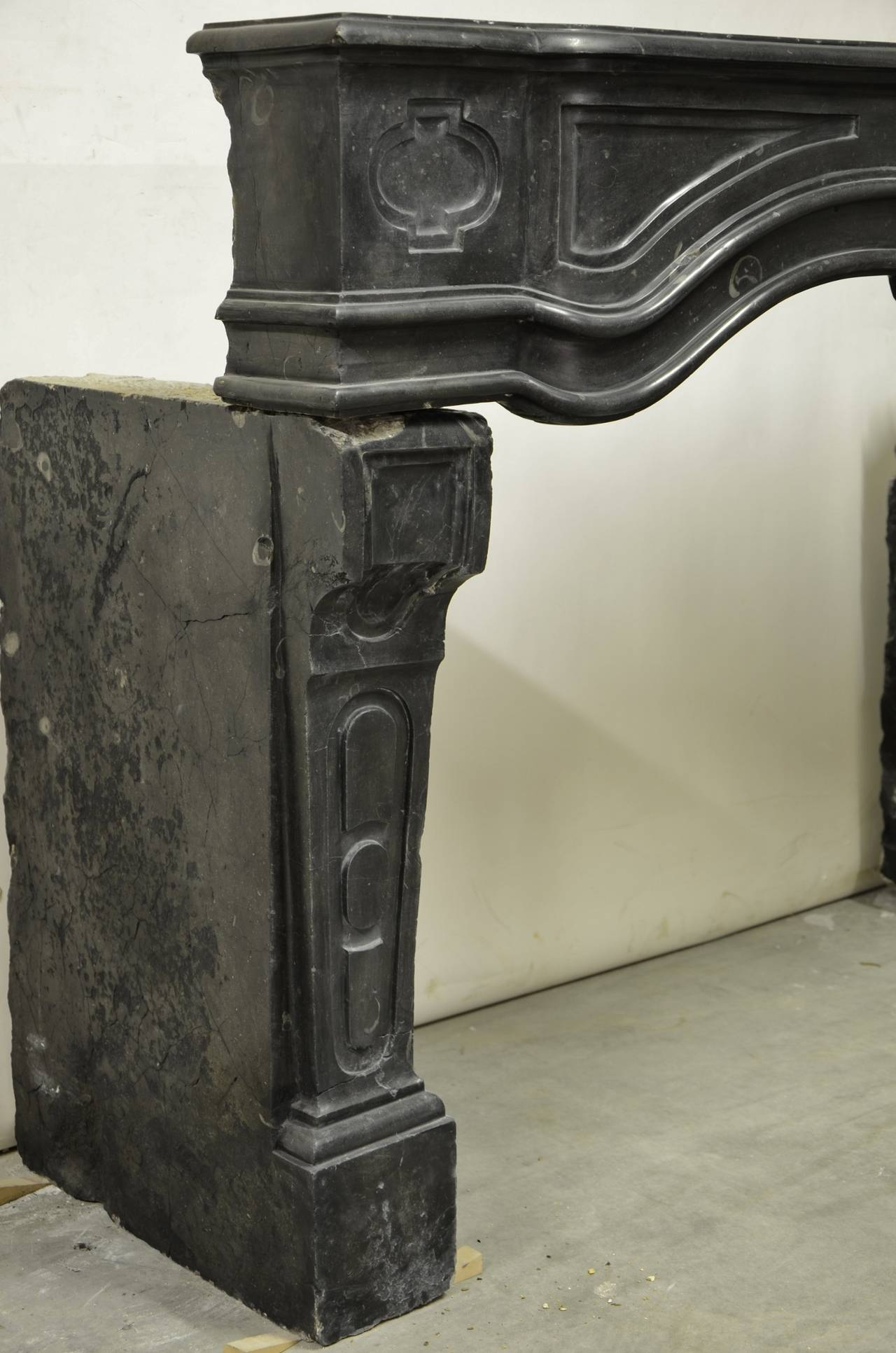 antique french black limestone louis xiv fireplace mantel at 1stdibs