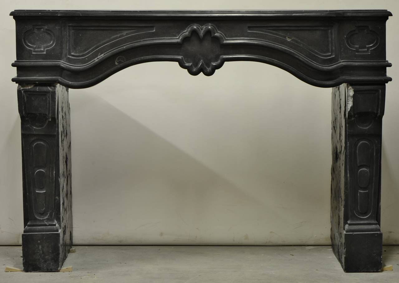 antique french black limestone louis xiv fireplace mantel