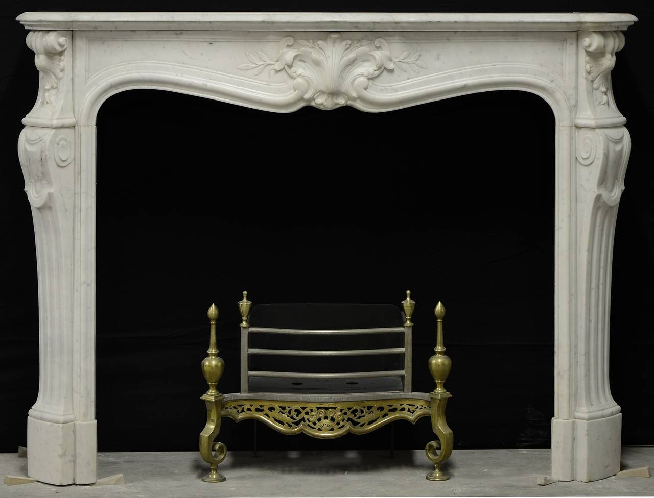 antique white marble french louis xv fireplace mantel at