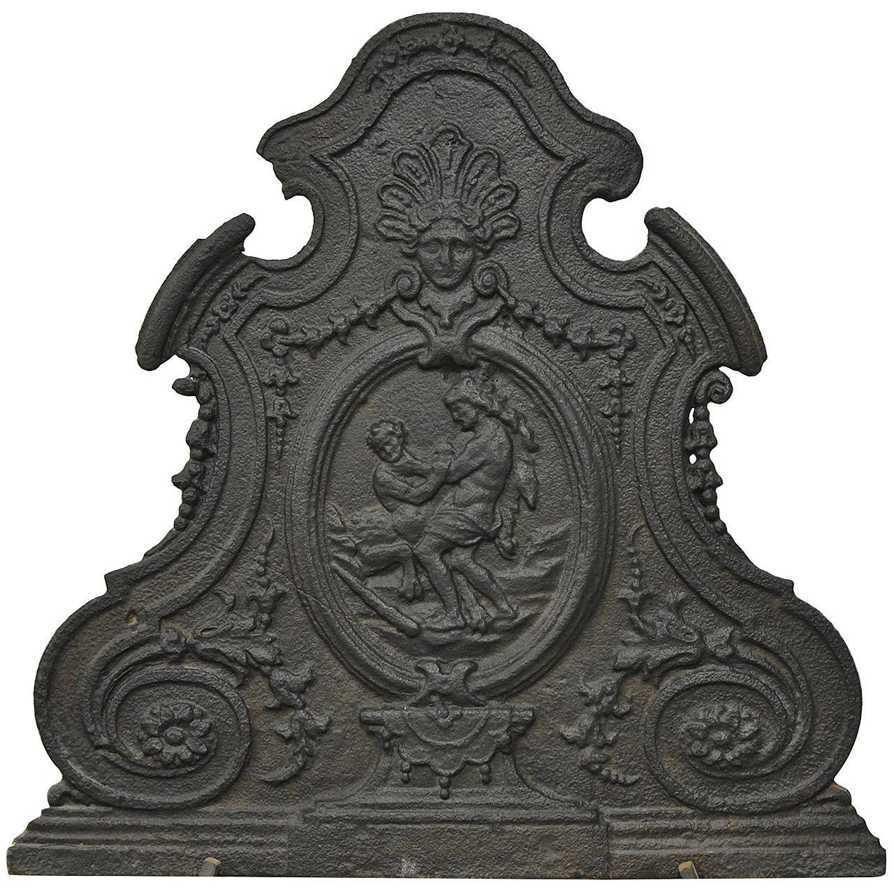 Antique 18th Century Cast Iron French Hercules and Antaeus Fireback