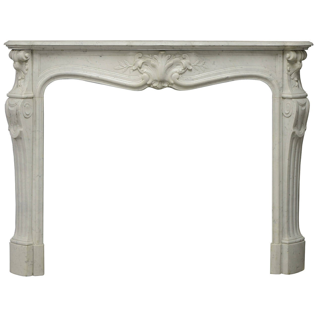 antique fireplace mantel in white marble very elegant french louis