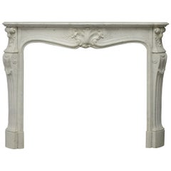 Antique Fireplace Mantel in White Marble Very Elegant French Louis XV