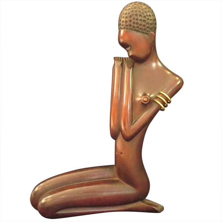 Wood And Bronze Kneeling African Girl Sculpture By Karl