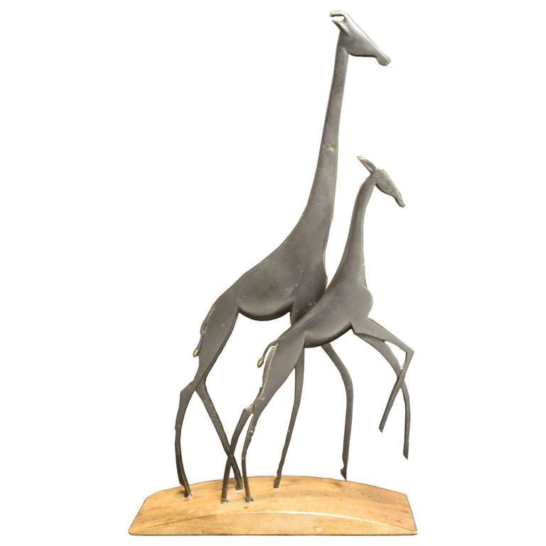 Bronze and Wood Giraffes Sculpture by Karl Hagenauer 1