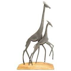 Bronze and Wood Giraffes Sculpture by Karl Hagenauer